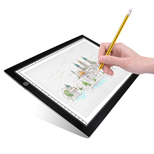 Artists Light Boxes A4 Ultra-thin Portable Tracing LED Drawing Pad, USB Power Cable Dimmable Brightness LED Artcraft Tracing Light Pad Box for Artists Drawing Sketching Animation Designing Drawing