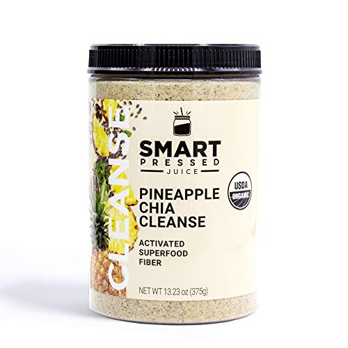 Smart Pressed Juice Pineapple Chia Cleanse | Prebiotic Superfood Plant Based Fiber with Vegan Probiotics & Enzymes | Keto-friendly Detox | Constipation Relief | Made in the USA | 30 Servings 1