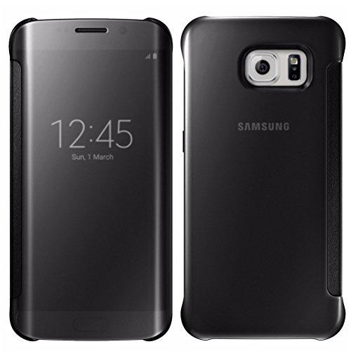 S6 Edge Plus Case,Glossy Mirror Clear View Hard Flip Smart Cover For Samsung Galaxy S6 Edge Plus (Black)