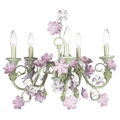 Jubilee Collection 7906-2622 5 Arm Ballroom Pink Chandelier with Ring of Roses on White Shade