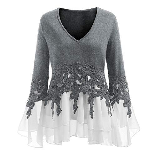 iDWZA Women's Sexy Casual Applique Flowy V-Neck Long Flare Sleeve Blouse Tops(2XL,Gray)