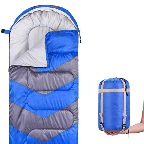 Abco Tech Sleeping Bag - Envelope Lightweight Portable, Waterproof, Comfort with Compression Sack - Great for 4 Season Traveling, Camping, Hiking, Outdoor Activities & Boys. (Single) (Blue)