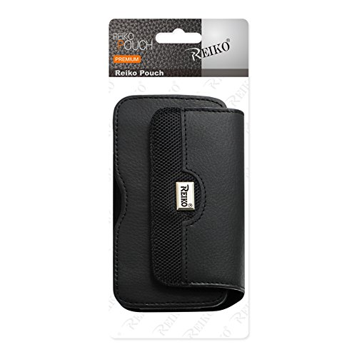 Lx260 Scoop - Reiko Leather Horizontal Phone Pouch With Embossed Logo 4.31x2.05x0.71 inches (Fits phone With Case) for LG Rumor, LG LX260, LG Scoop, LG UX260 - Retail Packaging - Black