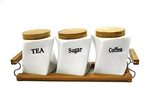 Attractive Set of Three (3) Ceramic Canisters with Natural Bamboo Lid and Stand - Twisted Shape Coffee, Tea, Sugar, Canister Set ()