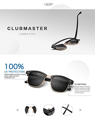 44e100c917 LUENX Men Clubmaster Polarized Sunglasses Women UV 400 Protection Black  Lens Black.