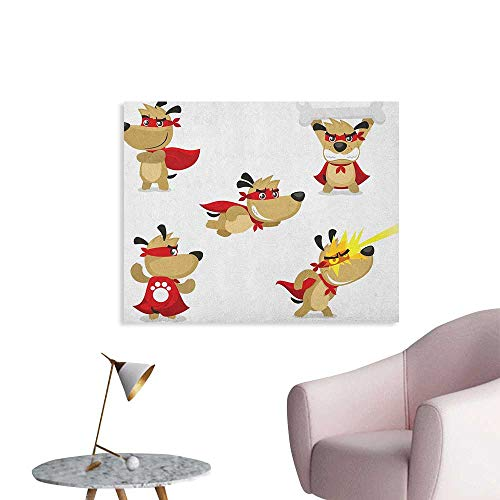 Anzhutwelve Dog Painting Post Superhero Puppy with Paw Costume and Mystic Powers Laser Vision Supreme Talents Cool Poster Red Cream White W28 xL20