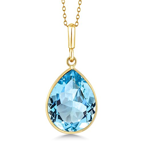 Gem Stone King 14K Yellow Gold Blue Topaz Pear Shape Pendant 8.00 Ct Gemstone Birthstone with 18 Inch Chain ()