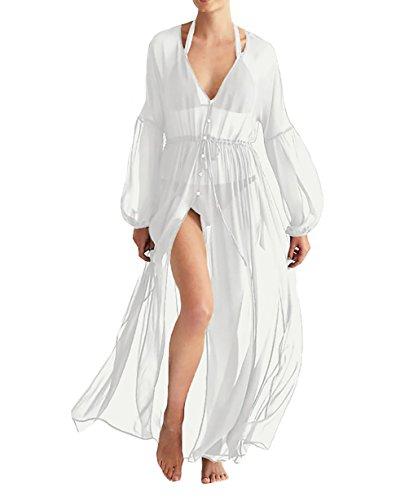 (MeiLing Women's Printed Bathing Suit Cover up Dress Semi-Sheer Chiffon Kimono Cardigan Beachwear (White E))