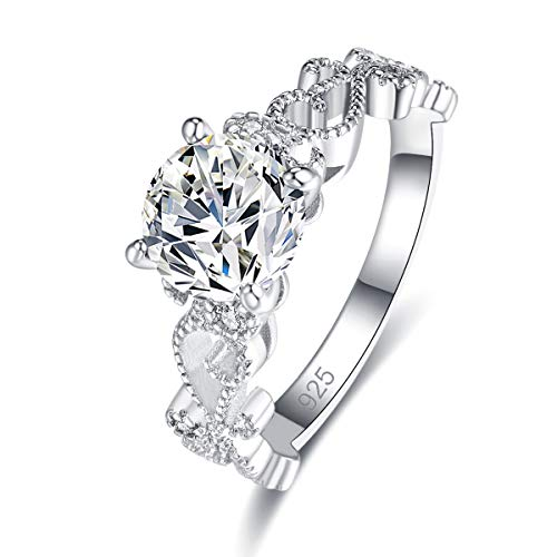 - Narica Women's 925 Sterling Silver Filled Round Cut White Topaz Promise Proposal Engagement Wedding Rings Size 6