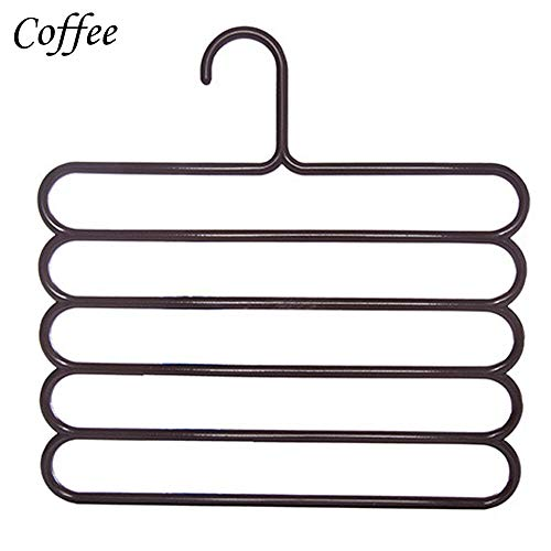 MOPOLIS New 5 Layer Pants Scarf Hangers Holders Trousers Towels Clothes Apparel Hangers (Color - Coffee) ()