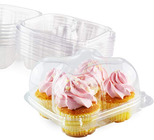 Chefible Premium 4 Compartment Cupcake Container, Cupcake Box, High Dome, Extra Sturdy and Stackable! Set of 12