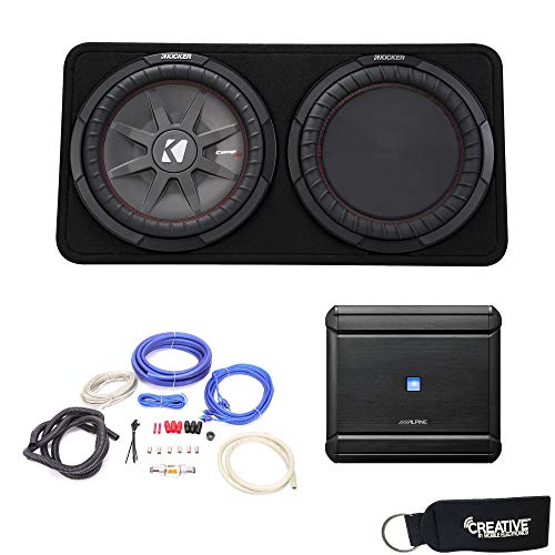 Alpine MRV-M500 Amplifier and a Kicker CompRT12 12-inch Subwoofer in Truck Enclosure 2-Ohm - Includes Wire kit