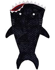 Amazon Basics Kids Fleece Tail Blanket - 26'' x 56'', Shark