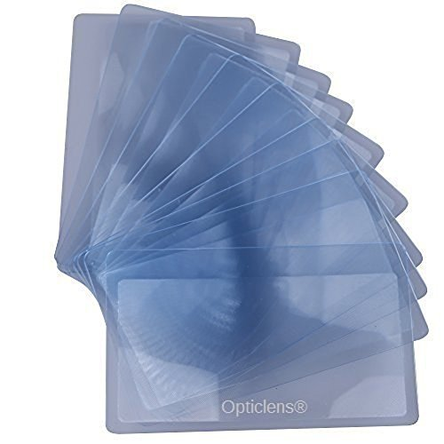 Lot of 15 OpticLens Brand Credit Card Sized Magnifying Lenses. Wholesale Lot - 300% Fresnel Magnifier