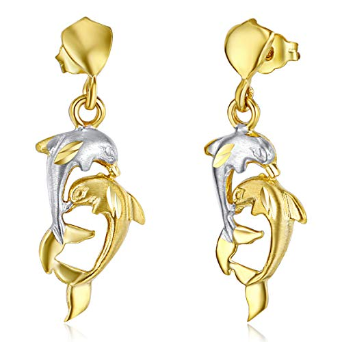 - Wellingsale Ladies 14k Two Tone Gold Polished Fancy Dolphin Dangle Hanging Drop Earrings (8 X 27mm)