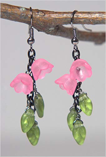 Leaves Flower Earring - Olivine Vitrail, Matte Pink Lucite Tulip/Lily Of The Valley Flowers, 2-in