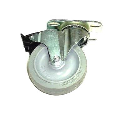 "Colson Swivel Caster w/ 3-1/2"" x 1-1/4"" Gray TPE Soft Wheel & Brake 22-3256-445"