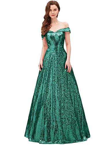 YIRENWANSHA 2019 Off The Shoulder Sequined Prom Dress Plus Size Womens A Line Empire Waist Sweetheart Neck Formal Evening Gown Floor Length Elegant Costume SHPD41-S Dark Green Size 26W