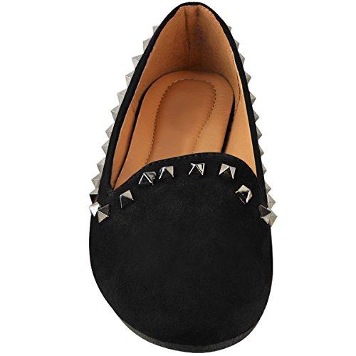 3d73116e28 ... La Mode Assoiffé De Femmes Ballerine Plate Cloutée Sur La Pompe Flats  Taille Noir Faux Daim