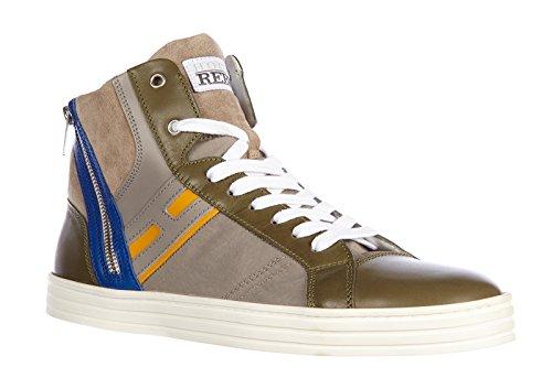 Hogan Rebel Chaussures Baskets Sneakers Hautes Homme en Cuir Rebel r141 Gris