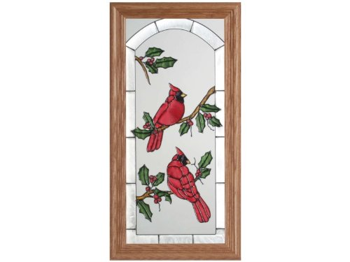 Glass Art Painted Holiday (Cardinals and Holly Painted Holiday Art Glass)