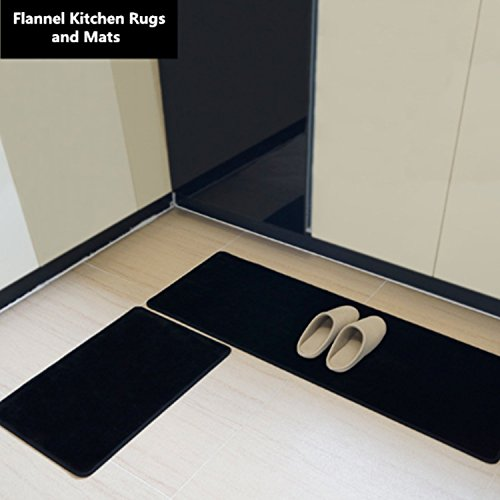 Flannel Kitchen Rugs and Mats, anti-bacterial, TPR non-slip bottom, never be faded, 2 pieces (50×80 cm+50×160cm, Large size black)