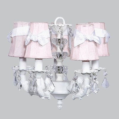 - Jubilee Collection 7037-6504-200 5 Arm Stacked Glass Ball White Chandelier with Plain Pink Sconce Shade with White Sashes