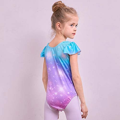 MHJY Kids Swimming Costume Flying Sleeve for Girl Fancy Cute Gymnastics Leotard 3-8 Years One Piece Swimsuit Comfortable Gym Clothes Printing Dance Skirt