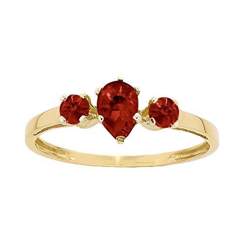 ArtCarved Sunshine Simulated Garnet January Birthstone Ring, 10K Yellow Gold, Size 6