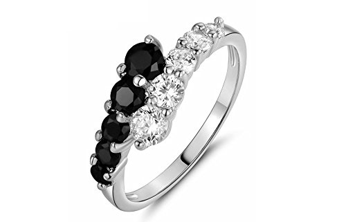 Cubic Zirconia Bypass Ring Black White CZ Stones Wrap Crossing Statement Eternity Wedding (Silver, 8) (Stone Crossing)