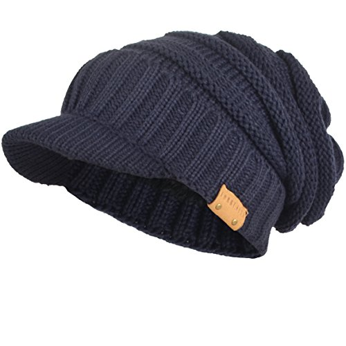 Cap Newsboy Skull Beanie Hat - Mens Womens Thick Fleece Lined Knit Newsboy Cap Slouch Beanie Hat with Visor (Thick-Navy)