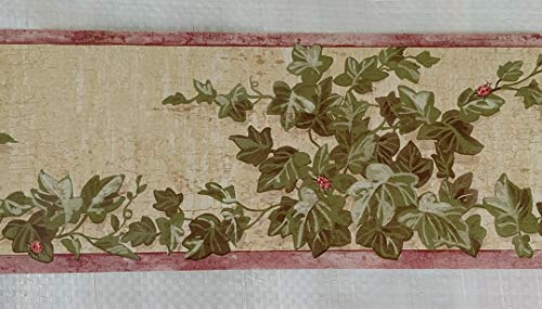 Country Vines Lady Bugs Ivy Kitchen Wallpaper Border - Red (Ivy Vine Wallpaper Border)