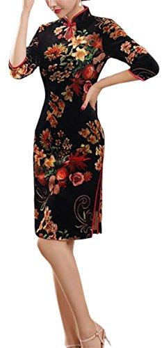 Jaycargogo Femmes Velours Imprimé Floral Classique Robes De Soirée De Style Chinois Cheongsam 9