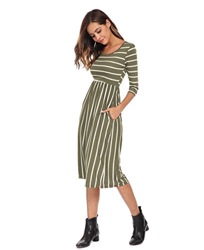 Modest Maternity Dress - Halife Women's 3 4 Sleeve Stripe Elastic Waist Casual Dress with Pocket (XS, Army Green)