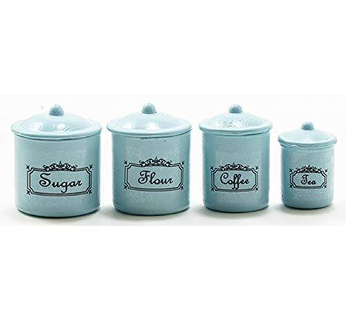 Dollhouse Miniature 1:12 Scale 4 Piece Vintage Look Kitchen Canister Set in Pale Blue
