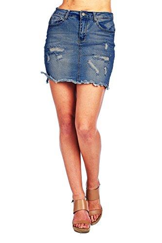 Khanomak Denim Jean Frayed Hem Distressed Mini Skirt with Side Slit (Large, Dark Blue)