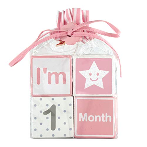 I'm Solid Wood Monthly Baby Milestone Age Blocks, Newborn Gifts & Keepsakes for Picture Props (4 Pcs / Pink)