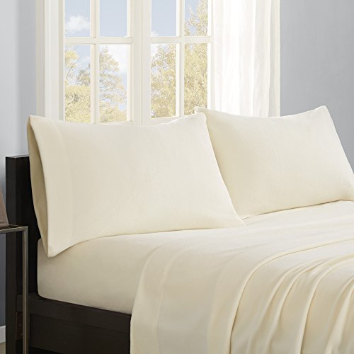 True North by Sleep Philosophy Micro Fleece Sheet Set, California King, Ivory (Ivory Fleece Sheet Set)