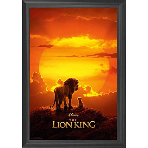 Lions Framed Wall - The Lion King Disney Movie Wall Art Decor Framed Print | 24x36 Premium (Canvas/Painting Like) Textured Poster | Simba & Mufassa Classic Sunset Scene | Merchandise Gifts for Guys & Girls Bedroom