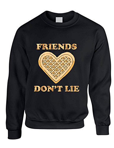 Allntrends Adult Sweatshirt Friends Don't Lie Shirt Waffle Top Cool Trendy Gift (M, Black)