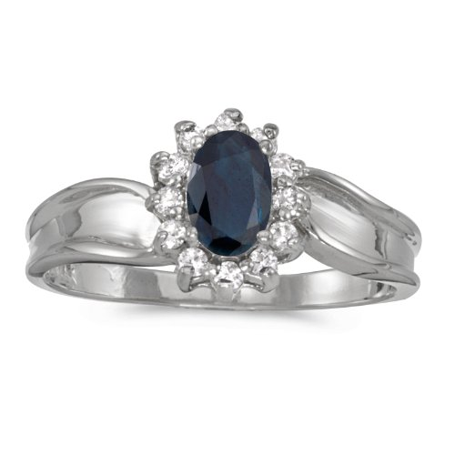 14k 6x4mm Oval Sapphire Ring (14k White Gold 6x4mm Oval Sapphire And Diamond Ring. Size 6)