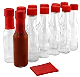 3-Ounce Hot Sauce Woozy Bottles (12-Pack); Clear Glass Bottles w/Red Lids, Drippers, Red Shrink Bands