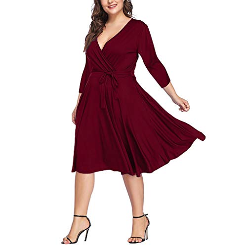 iLOOSKR Plus Size Women's Solid V-Neck Three Quarter Sleeve Casual Sashes Waist A-Line Dress Red