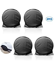 Mystery RV Spare Tire Covers Set of 4, Waterproof RV Wheel Cover with Hooks for Trailer Camper Truck SUV Motorhome Jeep, UV Sun Rain Snow Tire Wheel Protector, Universal Fits Tire Diameters 27-29inch