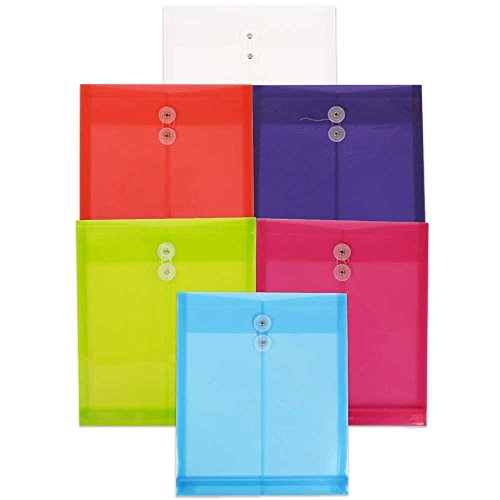 (JAM PAPER Plastic Envelopes with Button & String Tie Closure - Letter Open End - 9 3/4 x 11 3/4 - Assorted Colors - 6/Pack)