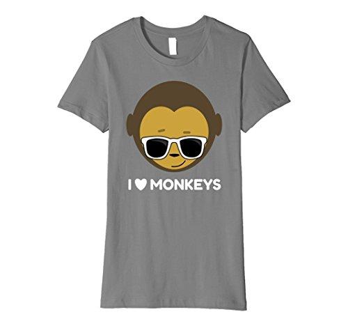 (Womens I Love Monkeys T-shirt Fun Gift Cool Monkey Lovers Tee Small Slate)