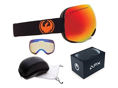 Jet Black Red Ionized Mirror Lens Dragon Apx Jet Black Red Mirror Mens Ski Snowboard Goggles Xtra - Dragon Apx