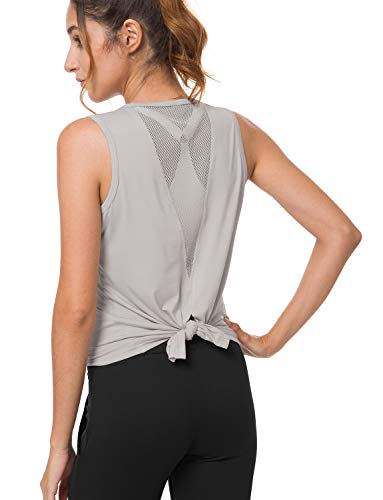 (Bamans Women's Sports Shirts Sexy Open Back Mesh Yoga Shirts Sleeveless Muscle Gym Fitness Workout Running Tank Tops Gray X-Large)