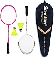 Senston Badminton Racket Set for Kids Junior Badminton Racket Kit (3 Color) Including 2 Racket/2 Shuttlecocks/