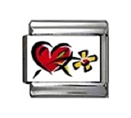 LOVE HEART WITH DAISY Photo Italian Charm 9mm Link - 1 x LV051 Single Bracelet Link